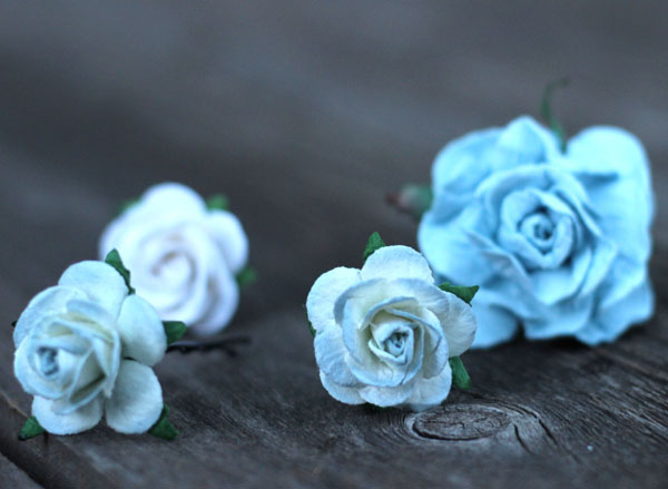 Flower Hair Bridal Dusty Blue Rose Hair Pins set of 4